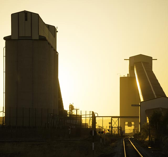 Sunset at a Harmony Gold operation