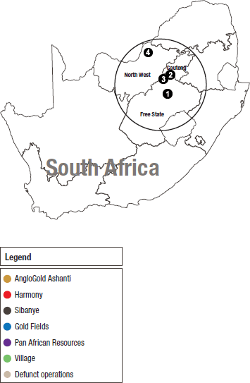 Location of gold operations, South Africa
