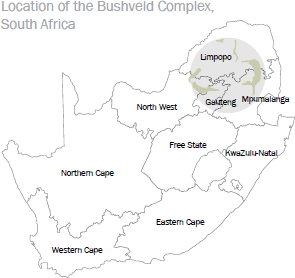 Location of the Bushveld Complex, South Africa